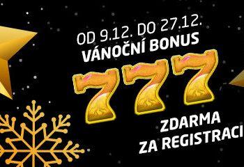 Vánoční akce! 777,-- za registraci v Synottip Casinu